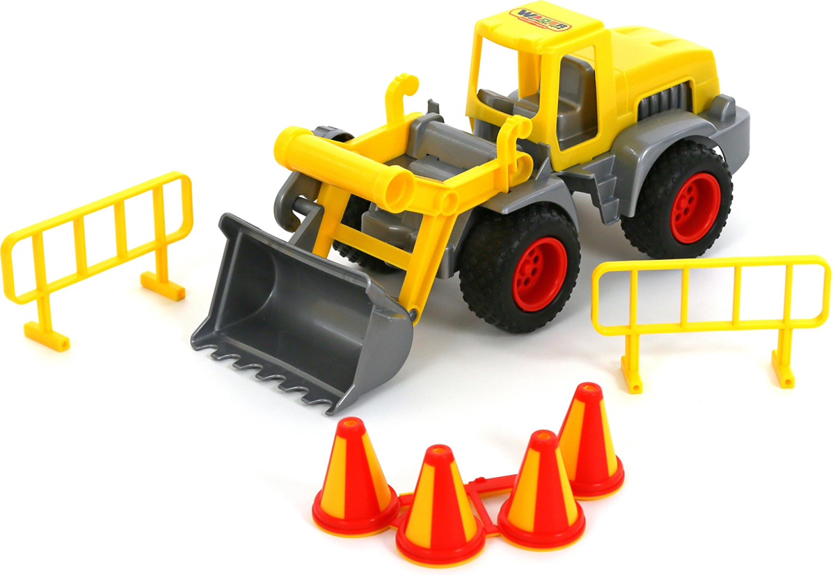 Полесье Трактор-погрузчик КонсТрак цвет желтый машина детская полесье полесье набор автомобиль трейлер трактор погрузчик