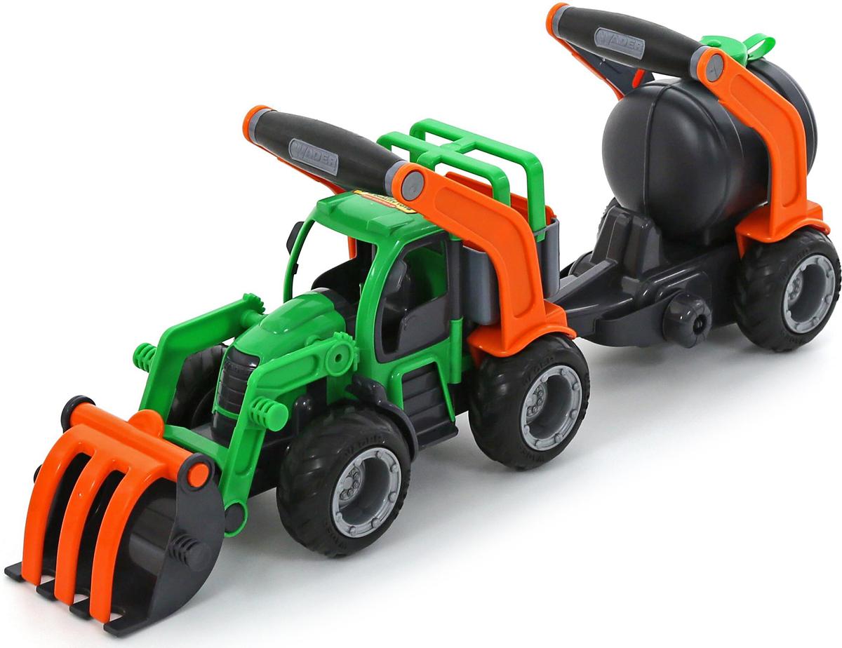 Полесье Трактор-погрузчик с цистерной ГрипТрак 37404 машина детская полесье полесье набор автомобиль трейлер трактор погрузчик