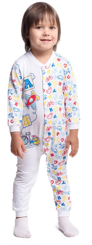 Комбинезон для мальчика PlayToday, цвет: белый, голубой. 377033. Размер 86377033Удобный комбинезон PlayToday из эластичного хлопка - отличное решение для повседневного использования. Аккуратные швы не вызывают неприятных ощущений. Горловина, манжеты и низ брючин на мягких трикотажных резинках. Для удобства снимания и одевания, а также для быстрой смены подгузника, по всей длине изделия расположены удобные застежки-кнопки. Модель декорирована принтом.