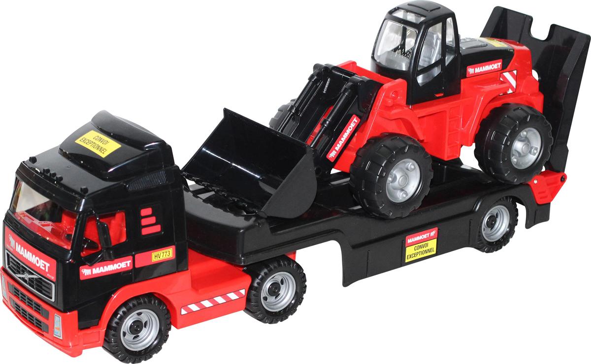 Полесье Трейлер Mammoet Volvo 204-01 и трактор-погрузчик машина детская полесье полесье набор автомобиль трейлер трактор погрузчик
