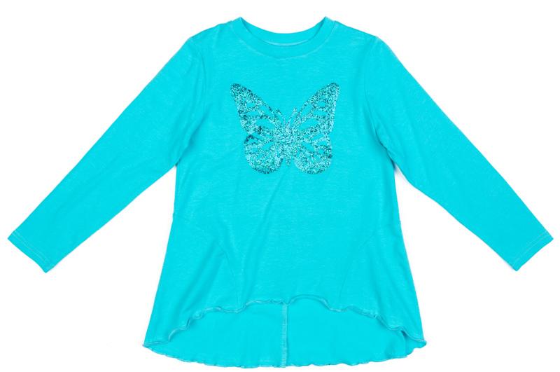 Футболка с длинным рукавом для девочки PlayToday, цвет: голубой. 372121. Размер 116372121Футболка с длинным рукавом PlayToday выполнена из эластичного хлопка. Футболка может быть и домашней, и повседневной одеждой. Декорирована аппликацией из пайеток. Аккуратные швы не вызывают раздражений и неприятных ощущений. Модель с удлиненной спинкой.