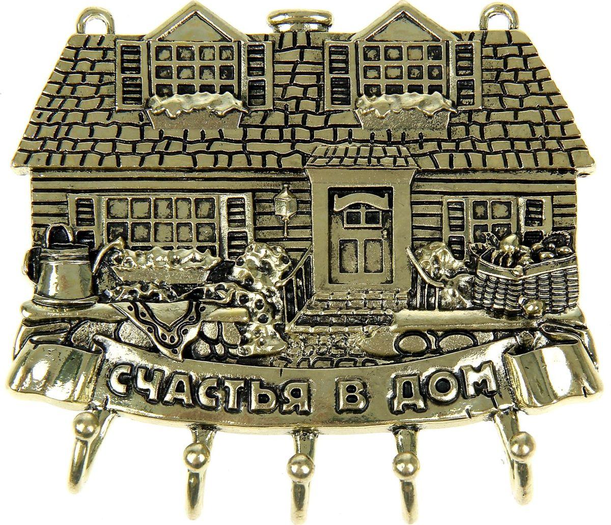 Ключница настенная Счастья в дом, 11 х 9 х 1 см1029814Полезные домашние мелочи не только делают нашу жизнь комфортнее, но и преображают интерьер любого помещения. Чтобы ваши ключи не терялись, а вы всегда знали, где они находятся, поможет Ключница Счастья в дом. Изделие выполнено в эксклюзивном дизайне из металла в оригинальной форме. Такой предмет интерьера, несомненно, станет изюминкой вашего дома. На основе ключницы находятся металлические крючки, а само изделие легко монтируется на стену. Украсьте свой дом красивыми и функциональными мелочами!
