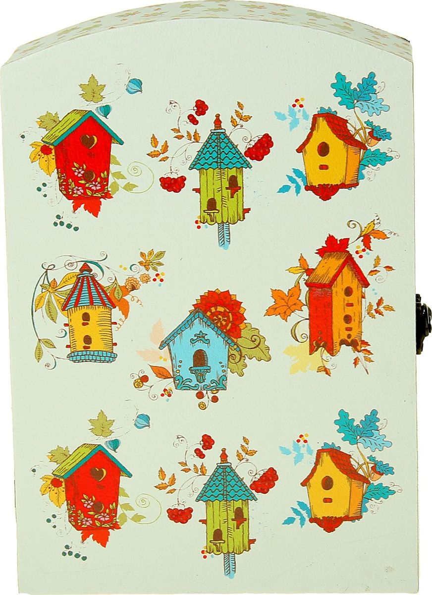 Ключница настенная Птичий дом, 29 х 20 х 7,5 см1038388Существует несколько значений слова ключница, но все они имеют примерно одинаковое предназначение. Например, что это должность прислуги, футляр или вешалка для хранения и пр. И эта Ключница Птичий дом будет гарантированно хранить ваши ключи чётко в одном и том же месте. Теперь вам не придётся постоянно искать свои ключи по всем карманам или прихожей, тратить на это бесценные минуты перед работой, кричать и будить родных, чтобы они помогли вам их найти. В такую оригинальную ключницу, напоминающую маленький кукольный шкаф, ключики потянутся сами, ведь для них это словно пятизвездочный отель. Они будут чувствовать себя в безопасности, прибывать в добром расположении духа и никогда не станут от Вас прятаться по разным углам и потайным местечкам.