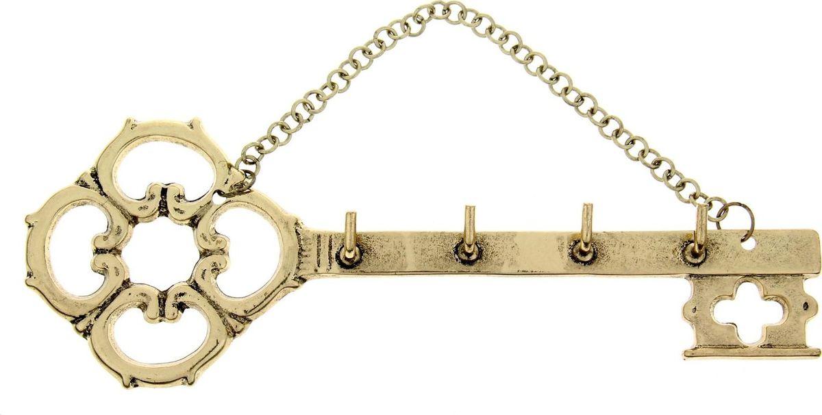 Ключница настенная Золотой ключик, 23,4 х 8,2 х 2 см1047688Полезные домашние аксессуары делают нашу жизнь комфортной и преображают интерьер. Чтобы ваши ключи не терялись и всегда были в одном месте, повесьте их на Золотой ключик. Фигурный металлический аксессуар в авторском стиле станет изюминкой вашего дома. На основе ключницы закреплены металлические крючки, а само изделие легко монтируется на стену.