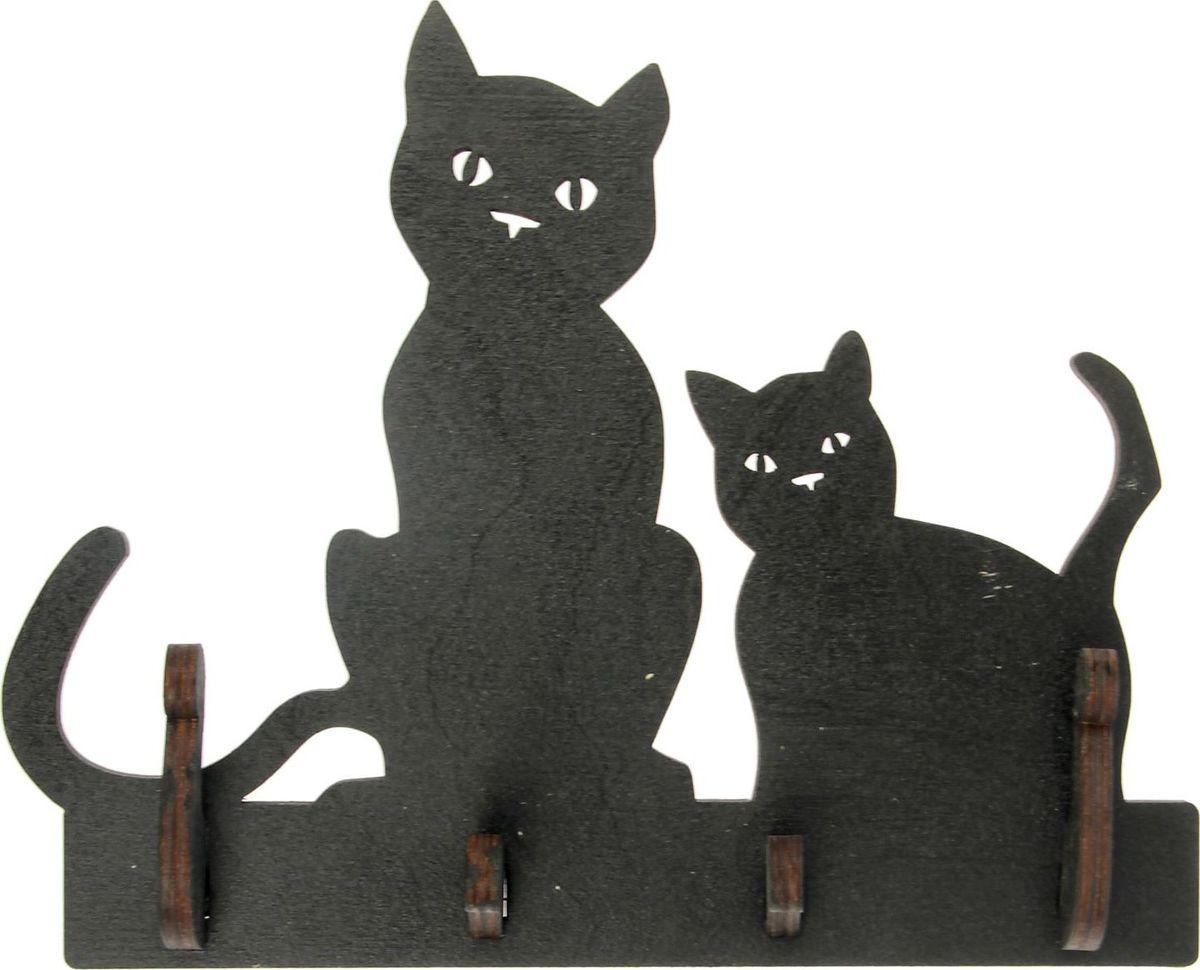 Ключница настенная Две кошки, 20,5 х 17,5 х 4 см1510504Удобно, когда всё лежит на своих местах, особенно ключи. Ведь они часто теряются в самый неподходящий момент. Чтобы решить такую проблему, обзаведитесь привычкой вешать их на специальное место. Удобная ключница станет украшением прихожей и сэкономит вам время перед выходом.