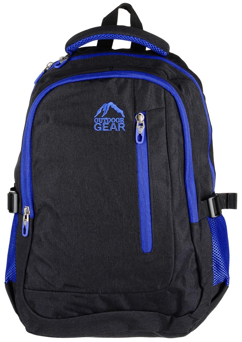 Рюкзак городской Outdoor Gear, цвет: черный, синий.1614Стильный и удобный рюкзак изготовлен из качественного 100% полиэстера сводоотталкивающими свойствами. Рюкзак Outdoor Gear, в котором сочетаетсяфункциональность и эстетический внешний вид имеет два больших отделения, одно из которыхдополнено карманом для ноутбука с мягкой стенкой, а второе отделение имеет органайзер длямелочей. С внешней стороны рюкзак оснащен одним втачным карманом на молнии. Боковыестенки модели имеют два накладных кармана из сетки. Анатомические лямки с регулировкой иортопедическая спинка добавят вам комфорта при использовании.