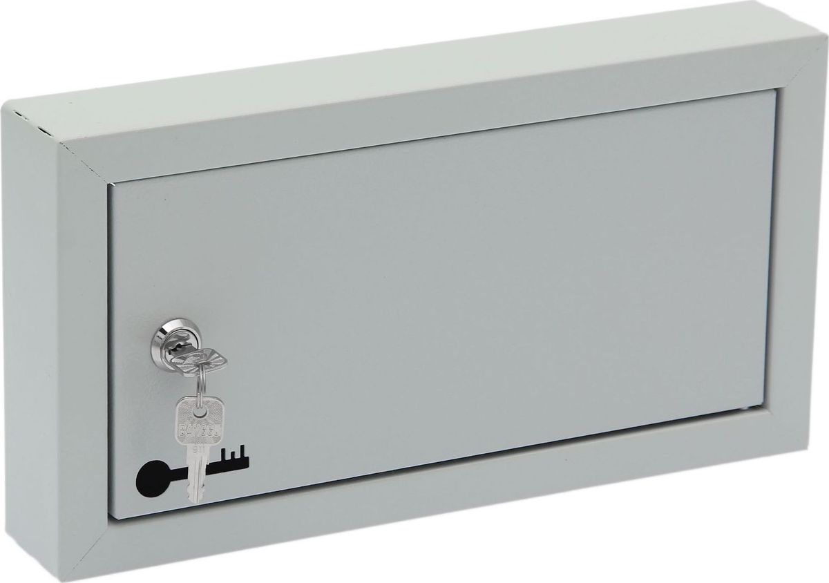 Ключница настенная ОТК, 20 крючков, 33 х 17,5 х 5 см1723837Изделие предназначено для удобного и безопасного хранения большого количества ключей. Корпус и дверца выполнены из металла и закрываются на замок. Внутри имеются стальные крючки, которые, в отличие от пластмассовых, не подвержены деформации. Преимущества:прочная стальная конструкция предусмотрено крепление к стене встроенный замок с ключом входит в комплект порошковое полимерное покрытие оптимальное соотношение цены и качества.