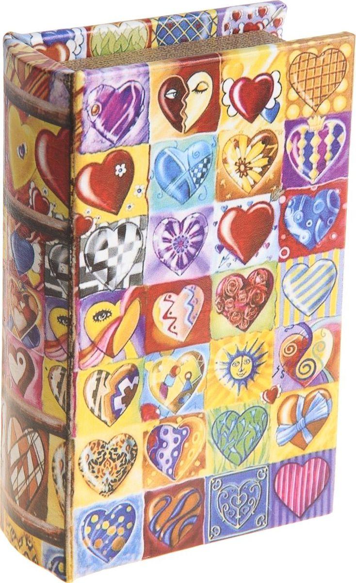 Ключница-книга настенная Калейдоскоп сердечек, 17 х 11 х 5 см184703Стильная ключница в виде массивного книжного тома станет оригинальным украшением прихожей и позволит вам хранить в одном месте все имеющиеся связки ключей: от дома и дачи, от гаража и офиса. Она порадует не только эффектным внешним видом, но и высоким качеством и будет служить вам верой и правдой долгое время. Предмет, сочетающий в себе практичность и элегантность.