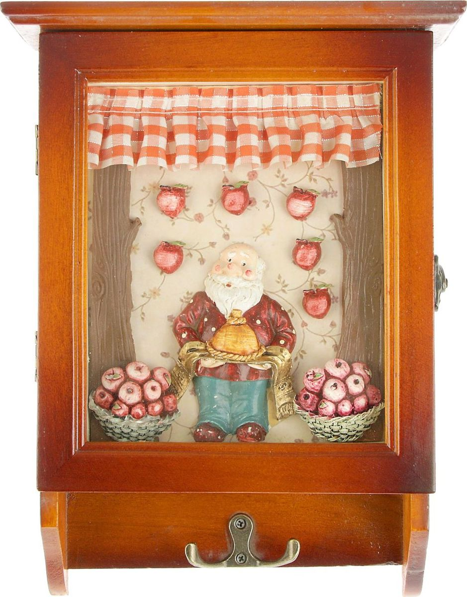 "NoName Ключница настенная ""Домовенок с яблоками"", 29 х 22 х 8 см 1935554"
