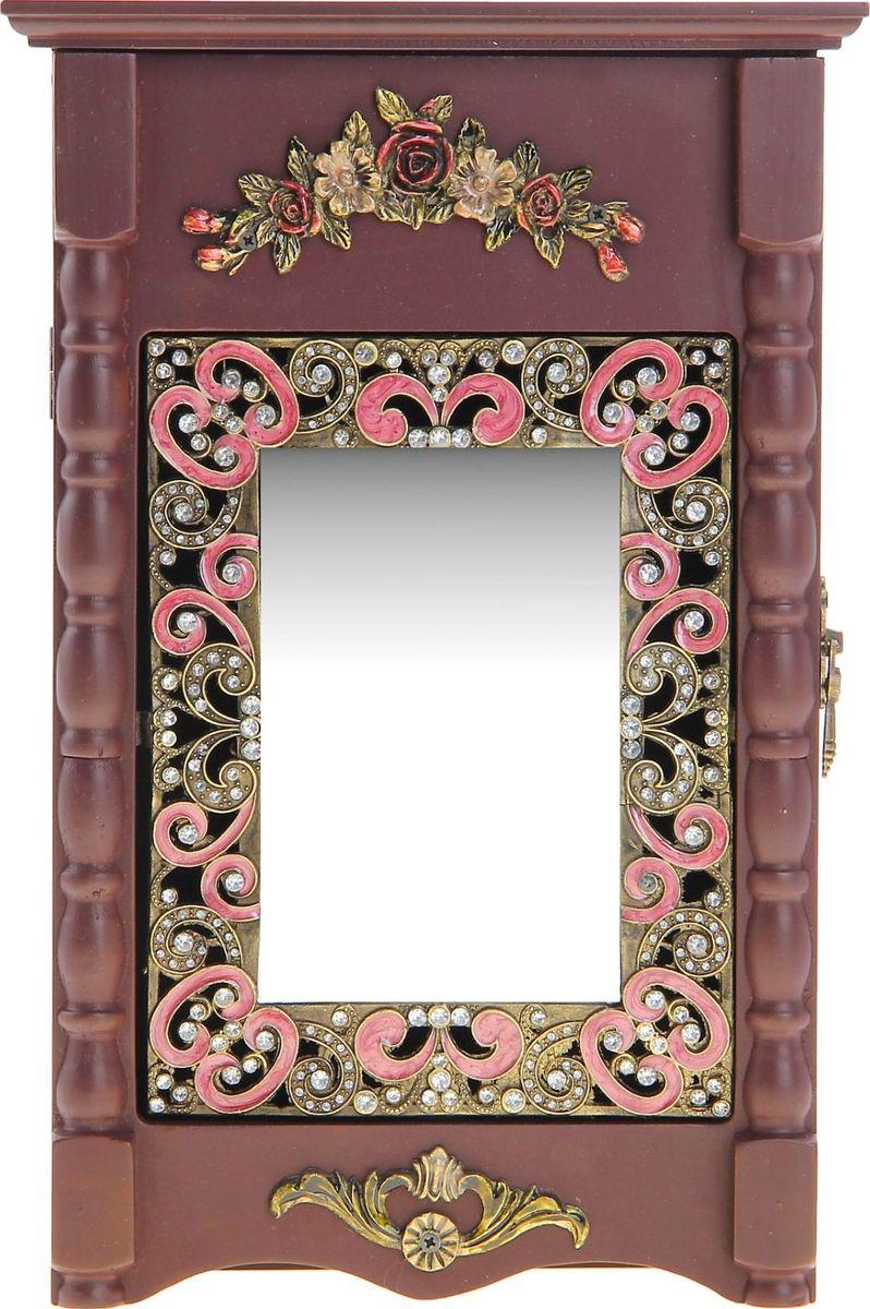 Ключница настенная Жако, с зеркалом, 35,5 х 21,5 х 9 см518998Если вы отдаете предпочтение классической элегантности – ненавязчивой и вместе с тем очень стильной, эта изысканная ключница, декорированная стразами, наверняка придется вам по душе. Она не только украсит стену прихожей, но и сэкономит ваше время: вешая ключи на ее крючочки, вы всегда будете помнить, где их оставили, и вам больше не придется искать их в утренней спешке по всему дому. Приобретая такую вещицу, вы делаете выбор в пользу красоты и функциональности.
