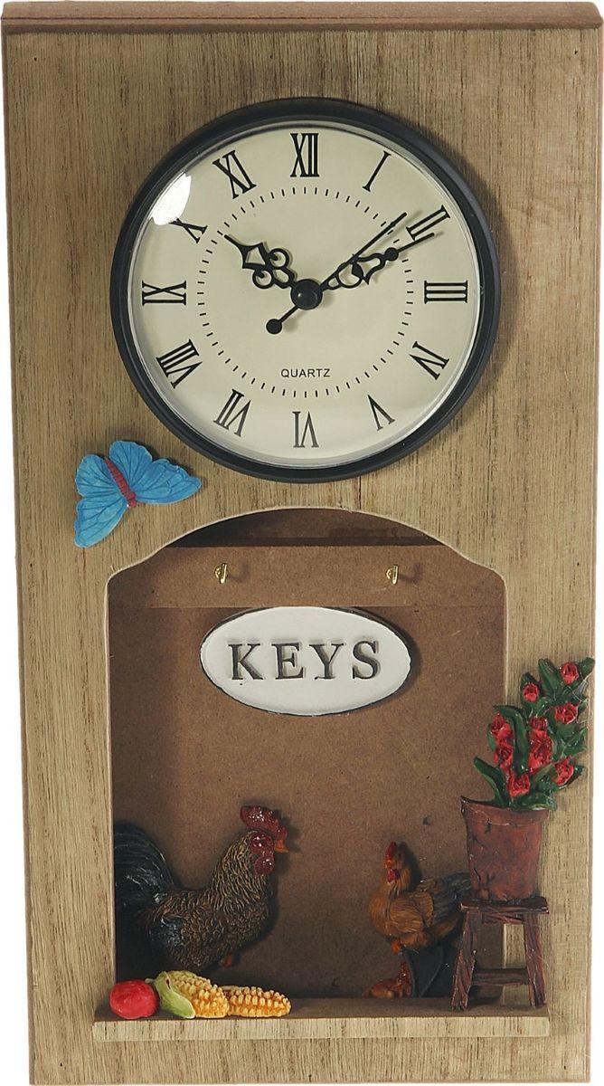 Ключница настенная Курятник, с часами, 31,5 х 17 х 4,5 см842270Если вы любите сочетание элегантности и удобства, такая ключница вряд ли останется без Вашего внимания. Она поможет выработать полезную привычку не оставлять ключи ни на кухонном столе, ни на этажерке, ни у зеркала, а вешать их на специально предназначенные для этого крючки. Она не только сэкономит ваше время, но и украсит собой прихожую. Такая ключница как нельзя лучше подойдет для тех, кто ценит тепло домашнего очага и старается сделать свой дом таким уютным, чтобы его не хотелось покидать даже на короткий срок. Оригинальный и практичный подарок.