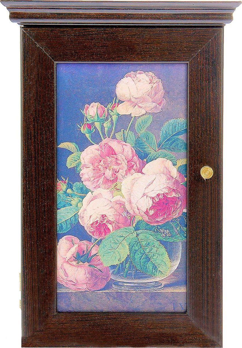"""Ключница настенная АГТ-Профиль """"Чайные розы"""", цвет: черный, 28 х 16,5 х 5 см"""