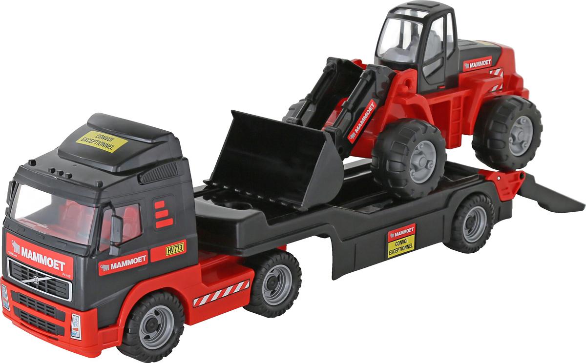 Полесье Трейлер Mammoet Volvo 204-03 и трактор-погрузчик машина детская полесье полесье набор автомобиль трейлер трактор погрузчик