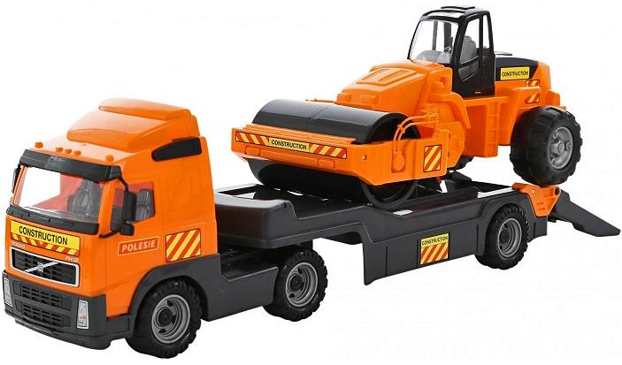 Полесье Трейлер Volvo и дорожный каток 58416 полесье набор для песочницы 406
