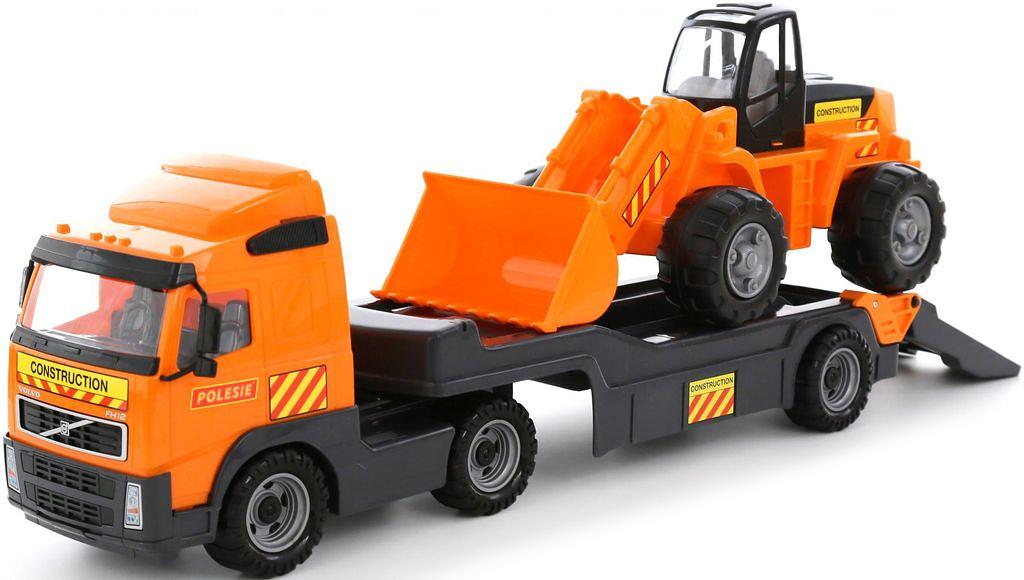 Полесье Трейлер Volvo и трактор-погрузчик 58423 машина детская полесье полесье набор автомобиль трейлер трактор погрузчик
