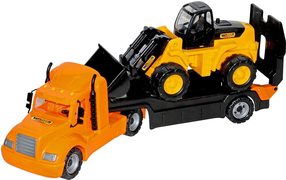 Полесье Трейлер Майк и трактор-погрузчик 55736 полесье полесье игровой набор mammoet volvo автомобиль трейлер и трактор погрузчик