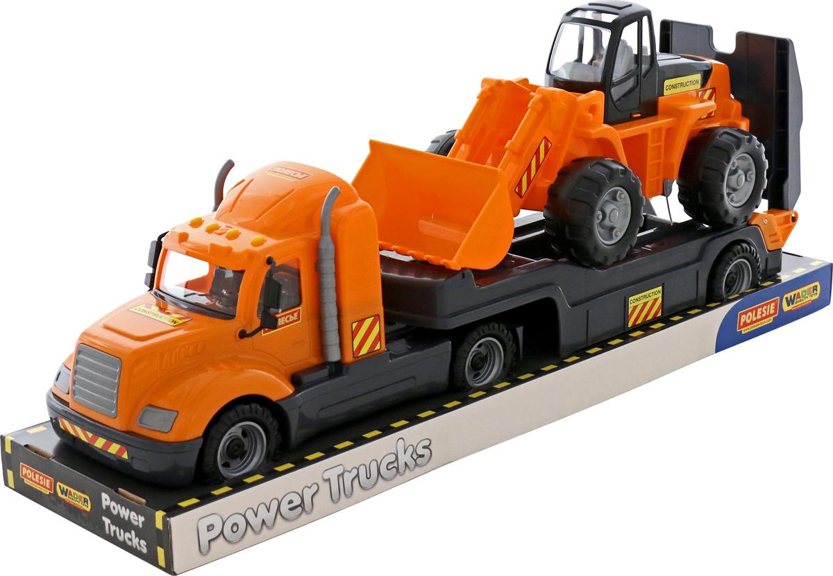 Полесье Трейлер Майк и трактор-погрузчик 58591 полесье полесье игровой набор mammoet volvo автомобиль трейлер и трактор погрузчик