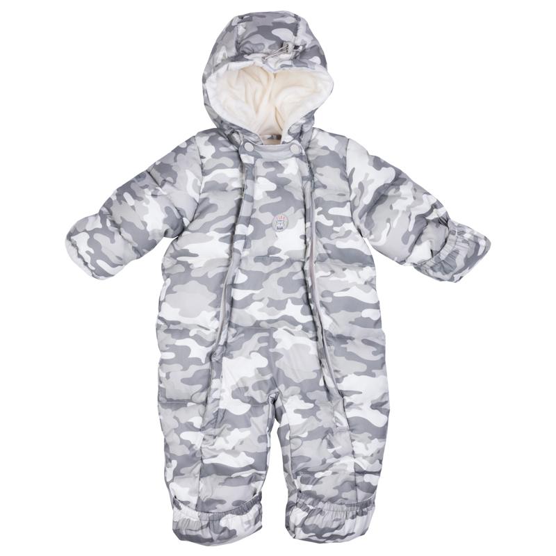 Комбинезон утепленный для мальчика PlayToday, цвет: светло-зеленый, серый, белый. 377801. Размер 56/62377801