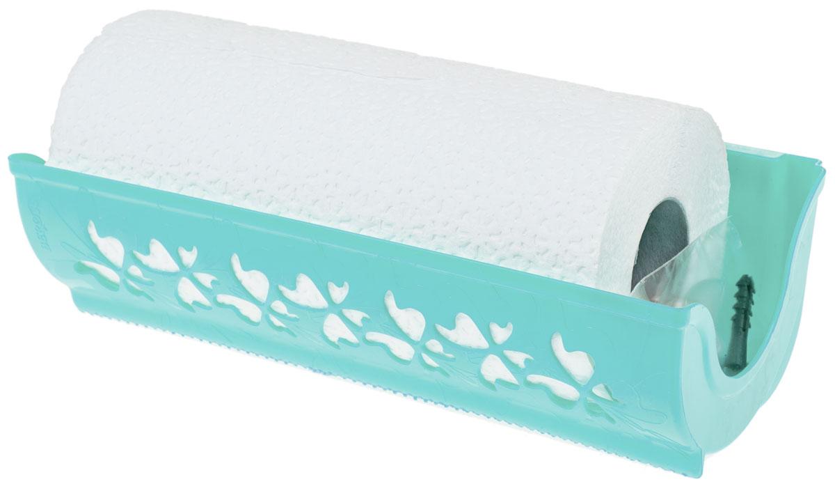 Держатель для бумажных полотенец Berossi Fly, цвет: светло-зеленый, 27,3 х 8,7 х 12,4 смАС 18257000Надежный держатель Berossi Fly поможет удобно хранить бумажные полотенца на кухне или в ванной комнате. Благодаря нежному узору, изделие станет изысканным украшением помещения. Отверстие с рифленым краем помогает отрывать полотенца аккуратно и в нужном количестве. Модель имеет два варианта вертикального крепления: на присосках или при помощи дюбелей и шурупов.