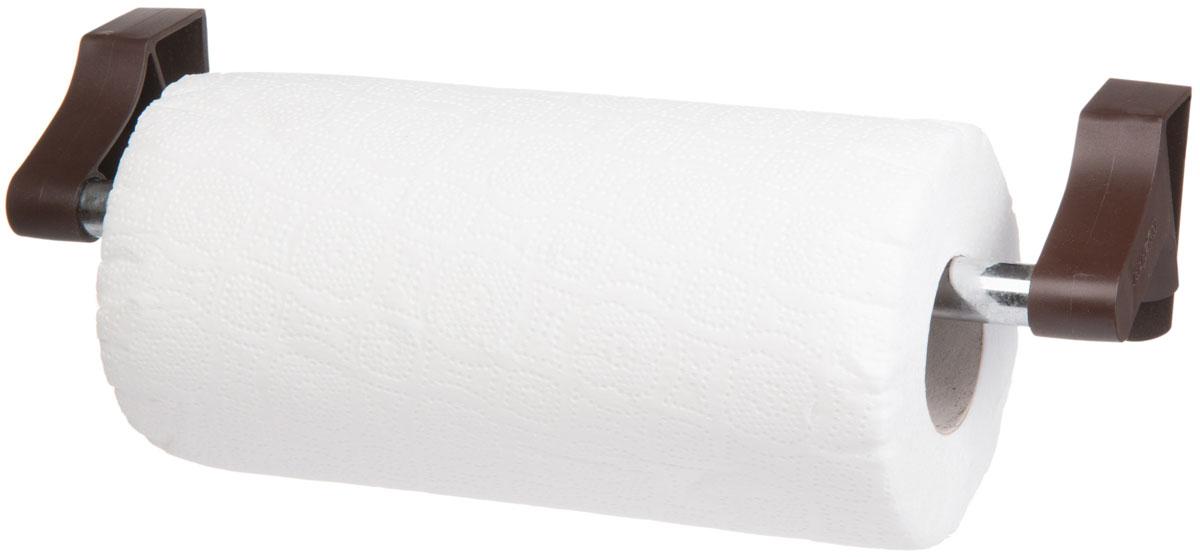 Держатель для бумажных полотенец Berossi Prestige, навесной, с полотенцем, цвет: шоколадный, 31,7 х 9 х 12,5 смАС 32945000Элегантный держатель для полотенец Prestige. В комплекте с изделием идет рулон бумажных полотенец.Благодаря особой системе зацепов, крепится на любую горизонтальную поверхность, в том числе, и на выдвижные ящики.Навешивается без дополнительных крепежных приспособлений, типа присосок, липучек или саморезов, поэтому стены и мебель остаются целыми и чистыми. Подходит для текстильных и бумажных полотенец. Чтобы надеть рулон, достаточно снять с оси один из пластиковых держателей.Конструкция изделия исключает разматывание и переворачивание бобины.