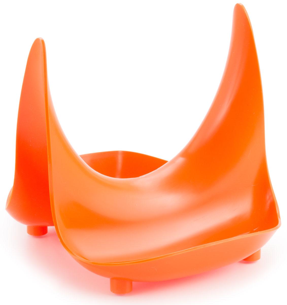 Подставка Berossi Rimi, универсальная, цвет: оранжевый, 18,3 х 16,5 х 15,7 смИК 24240000Практичный аксессуар экономит рабочее пространство и просто незаменим во время готовки! Больше не нужно думать, куда положить половник, ложку или горячую крышку так, чтобы не испачкать кухонную поверхность. Весь конденсат с крышки стекает в углубление подставки.Двусторонняя возможность использования: можно хранить одновременно несколько предметов.Подходит для крышек любого диаметра.Помогает поддерживать чистоту и порядок во время готовки.Специальные антискользящие ножки для максимально удобного использования.