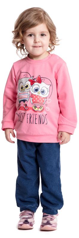 Домашний комплект для девочки PlayToday: футболка с длинным рукавом, брюки, цвет: розовый, синий. 378030. Размер 92378030Комплект PlayToday, состоящий из футболки с длинным рукавом и брюк, - отличное решение и для повседневного гардероба, и в качестве домашней одежды. Приятная на ощупь ткань не вызывает раздражений. Модель декорирована принтом. Для удобства снимания и одевания по плечу футболки расположены удобные застежки-кнопки. Пояс и низ брюк на мягких трикотажных резинках.