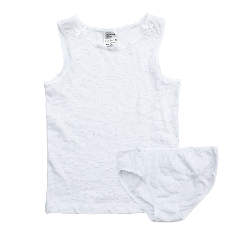 Комплект белья для девочки PlayToday: майка, трусы, цвет: белый. 376002. Размер 98