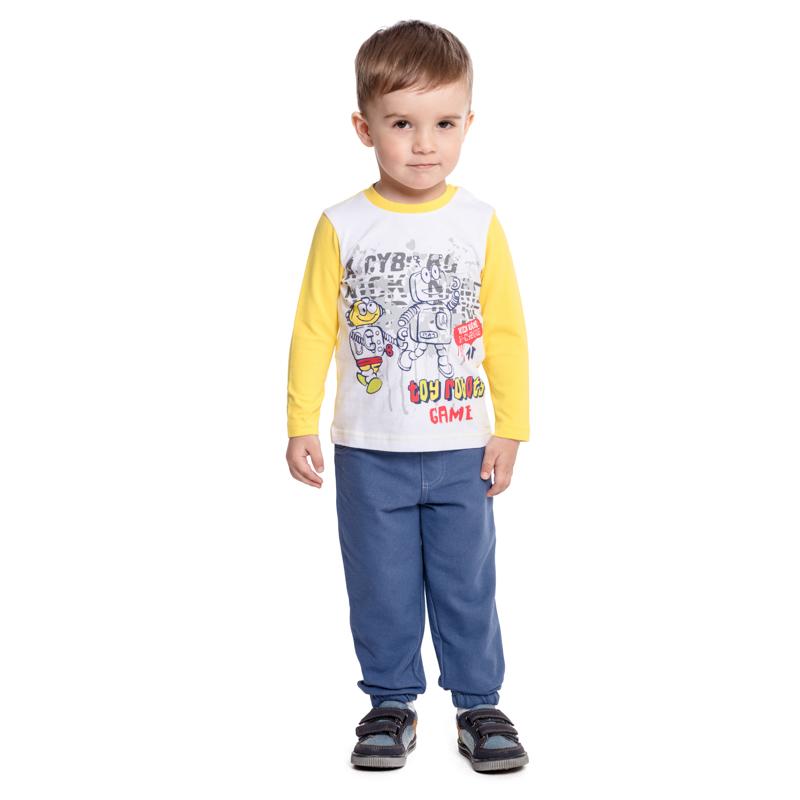 Домашний комплект для мальчика PlayToday: футболка с длинным рукавом, брюки, цвет: белый, желтый, синий. 377031. Размер 86377031Комплект PlayToday, состоящий из футболки с длинным рукавом и брюк, - отличное решение и для повседневного гардероба, и в качестве домашней одежды. Приятная на ощупь ткань не вызывает раздражений. Модель декорирована принтом. Для удобства снимания и одевания по плечу футболки расположены застежки-кнопки. Пояс брюк на мягкой резинке, не сдавливающей живот ребенка.