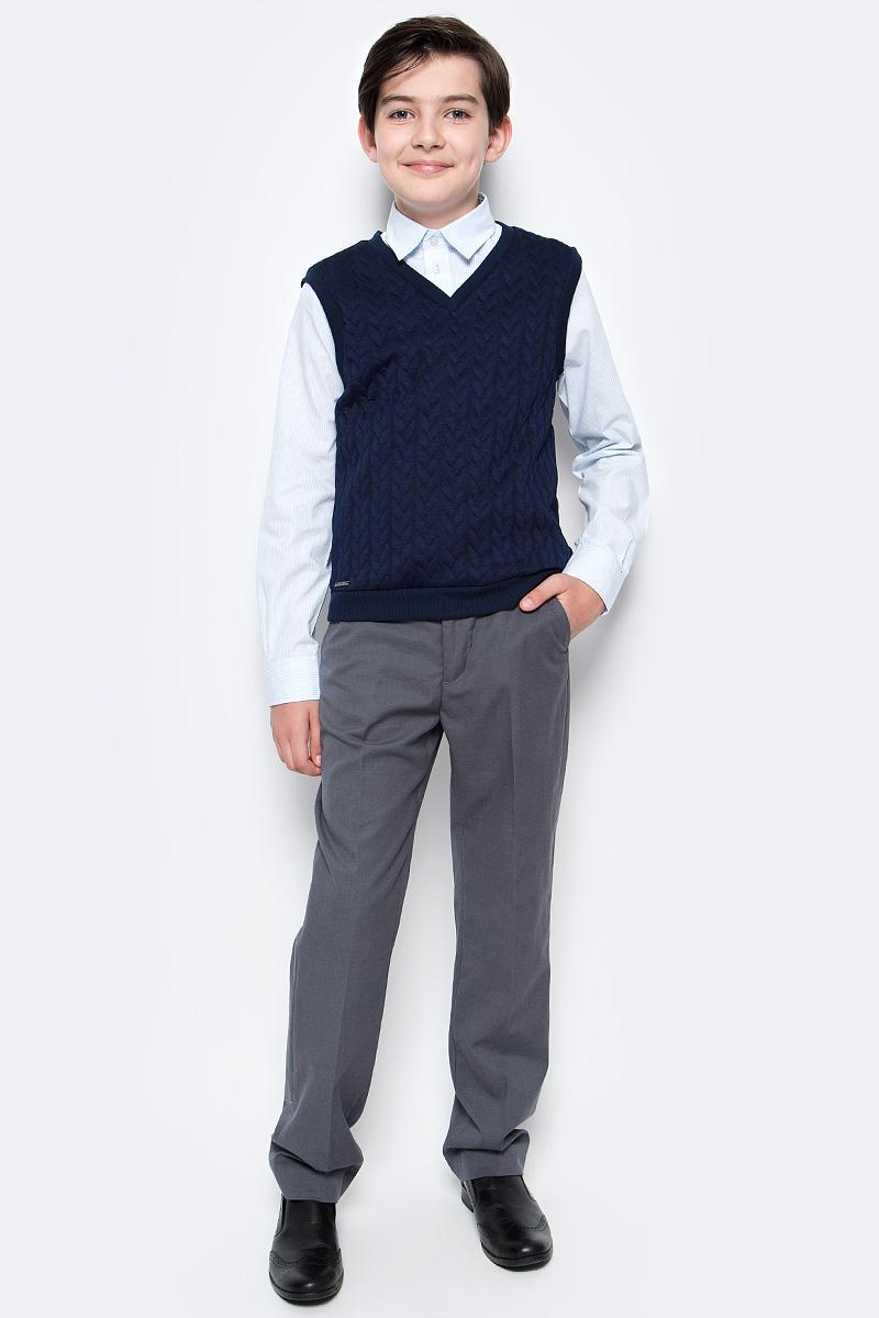 джемпер для мальчика nota bene цвет темно синий cjk17017b29 размер 164 Жилет для мальчика Nota Bene, цвет: темно-синий. CJV17004A29/CJV17004B29. Размер 164