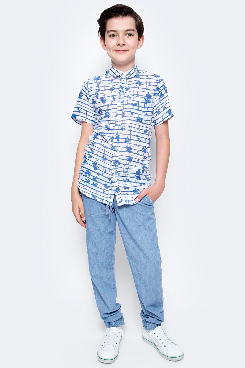 Рубашка для мальчика Sela, цвет: белый. Hs-812/203-7215. Размер 134Hs-812/203-7215Стильная рубашка для мальчика Sela выполнена из качесвтенного легкого материала и оформлена ярким принтом. Модель прямого кроя с короткими рукавами и отложным воротничком застегивается на пуговицы и дополнена накладным карманом на груди.Яркий цвет модели позволяет создавать стильные летние образы.