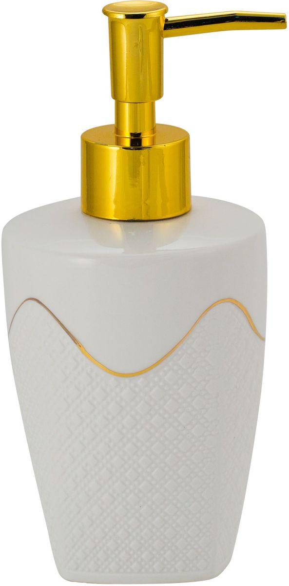 Диспенсер для мыла Swensa Конте, цвет: белый, 250 млSWTK-2700AКерамический дозатор для жидкого мыла из коллекции Конте — это не только функциональное устройство, но и важный декоративный элемент, который подчеркнет элегантность внутренней обстановки ванной. Комбинация перламутра, кружева и золотого блеска выглядит стильно и прекрасно сочетается с любым цветовым решением интерьера. Натуральная керамика не изменяет свой цвет с течением времени и сохраняет неизменную форму.