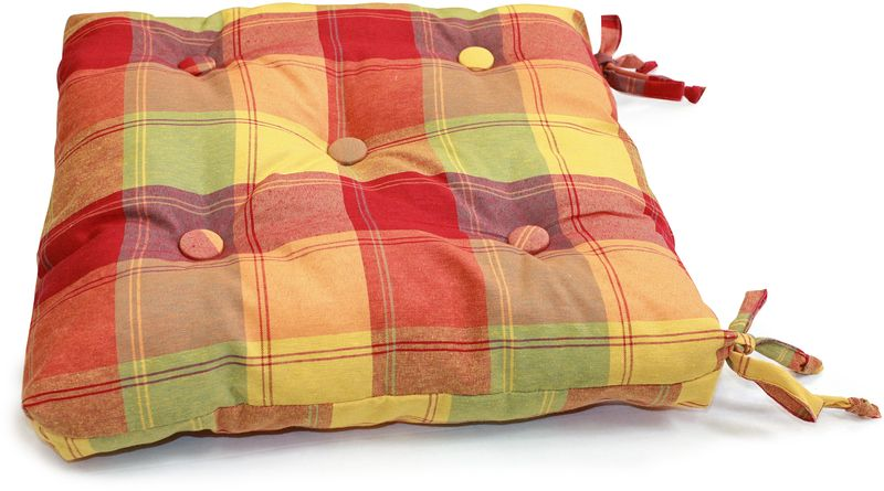 Подушка на стул KauffOrt Гватемала, 40 х 40 см3112103673Комплектация: 1 подушка, на завязках (наполнитель: холлофайбер). Материал: полотно, принт. Состав: 32% хлопок, 38% полиэстер, 30% акрил. Цвет: мультиколор. Применение: кухня, дача.