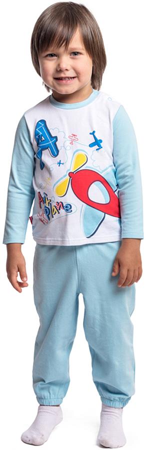 Домашний комплект для мальчика PlayToday: футболка с длинным рукавом, брюки, цвет: голубой, белый. 377034. Размер 86