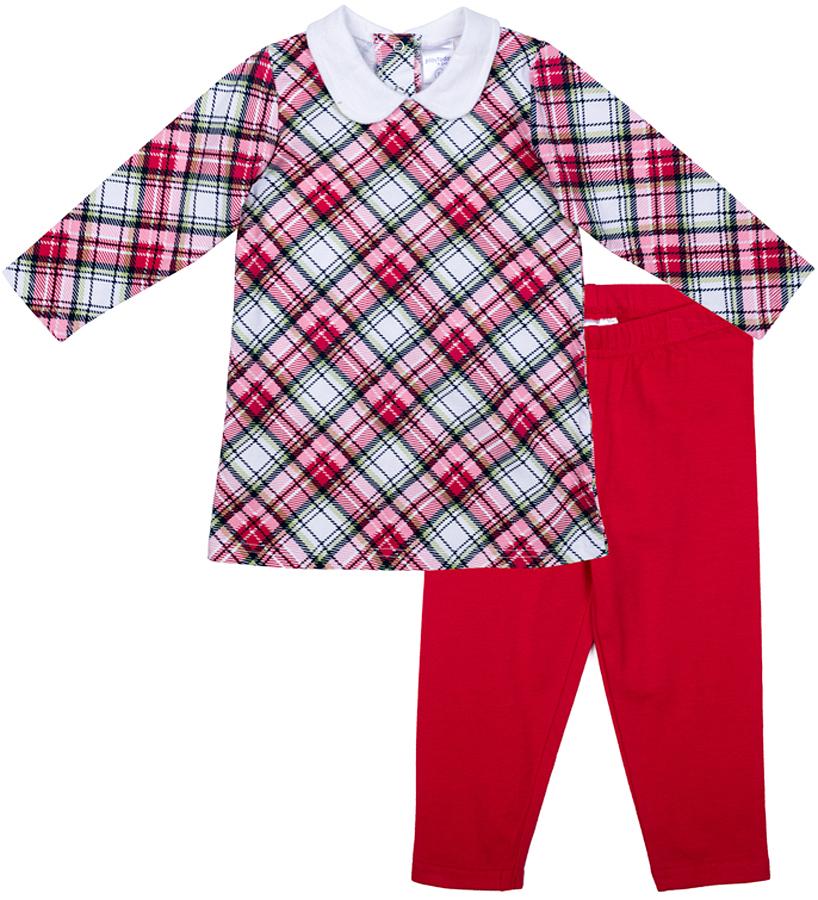 Комплект одежды для девочки PlayToday: платье, леггинсы, цвет: красный, белый, розовый. 378814. Размер 56378814Комплект PlayToday, состоящий из платья и леггинсов, разнообразит гардероб ребенка. Платье прямого кроя из принтованной ткани с белоснежным отложным воротником. На спинке - удобные застежки-кнопки. Леггинсы на мягкой резинке, что не позволяет им сползать. Комплект подойдет и для домашнего и повседневного использования.