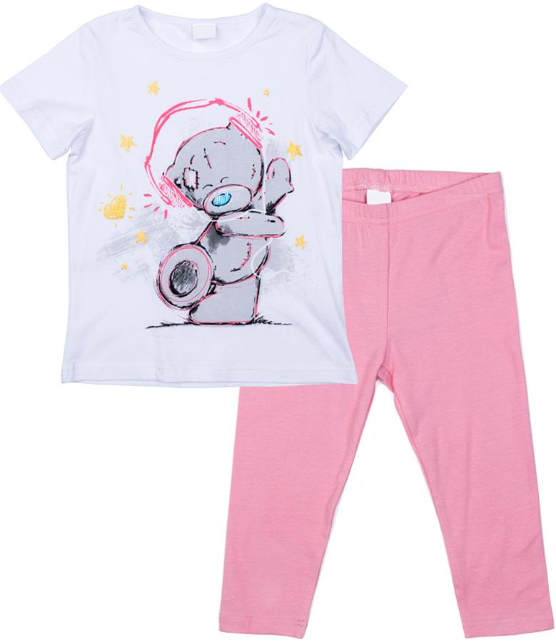 Комплект одежды для девочки PlayToday: футболка, леггинсы, цвет: белый, розовый. 576002. Размер 128