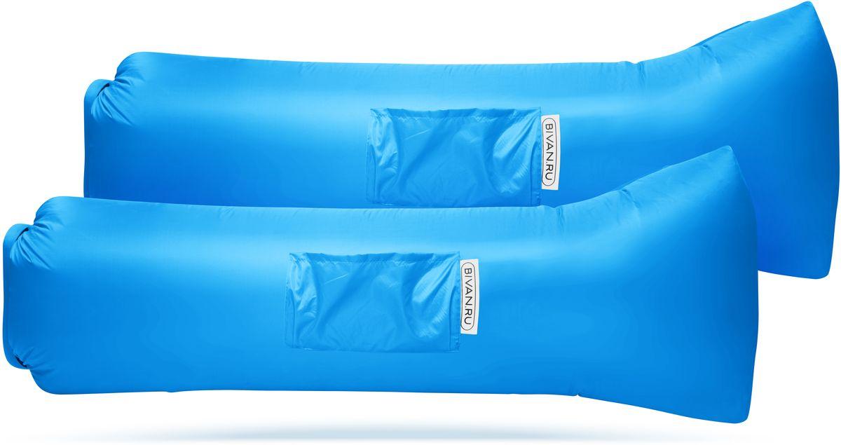 Диван надувной Биван 2.0, цвет: голубой, 190 х 70 см, 2 штBVN17-COMPx2-AZRБиван 2.0 - это надувной гамак (лежак, диван) второго поколения. Доработанная, более устойчивая и удобная форма. Добавлена мембрана, крепления для подсветки и колышков.Быстронадуваемый. Чтобы подготовить Биван к использованию, понадобится около 15 секунд. Какой насос? Кому теперь нужен насос?! Для любых поверхностей. Биван выполнен из прочного износостойкого текстиля со специальной пропиткой. Ему не страшны трава, камни, вода и песок. Лежите, где хотите. 12 часов релакса. Биван способен удерживать воздух более 12 часов, что позволит вам использовать его и для сна. Ремонтопригодность. Мы создали полноценный ремкомплект, так что если вдруг биван окажется поврежден, потребуется всего 15 минут, чтобы вернуть его в форму.Компактность и удобство. В сложенном виде габариты бивана - 35 х 15 х 11 см.Вес бивана с сумкой - 1500 грамм. Полная длина в развернутом виде - 200 см, ширина - 80 см.Полезная длина в надутом виде - 190 см, ширина - 70 см.