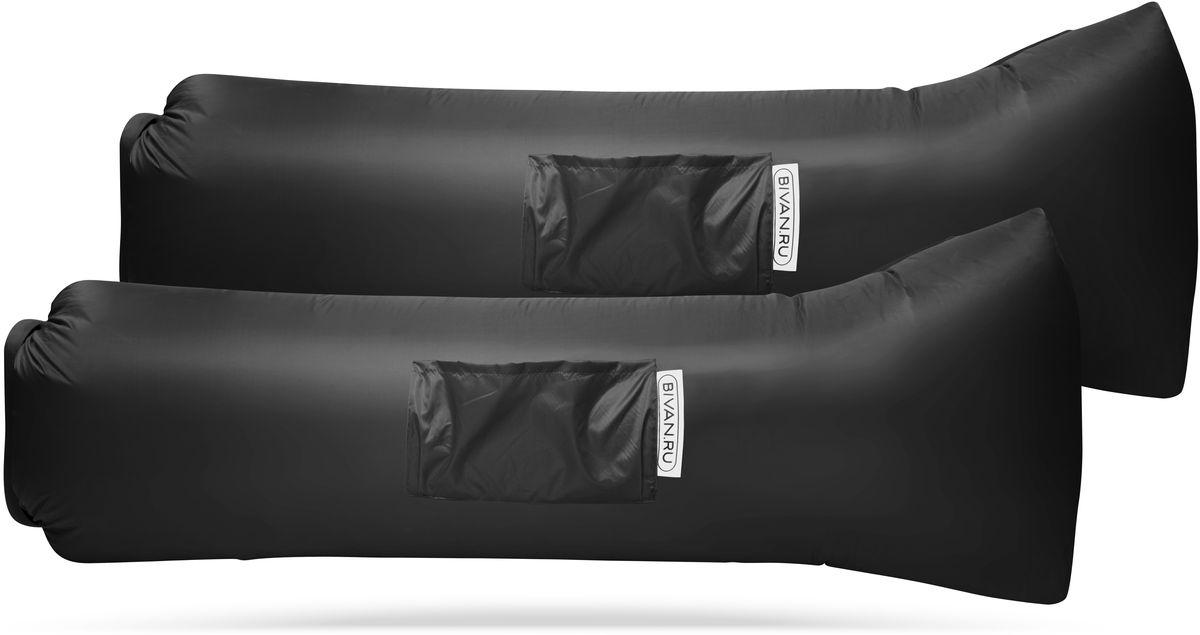 Диван надувной Биван 2.0, цвет: черный, 190 х 70 см, 2 штBVN17-COMPx2-BLKБиван 2.0 — надувной гамак (лежак, диван) второго поколения. Доработанная, более устойчивая и удобная форма. Добавлена мембрана, крепления для подсветки и колышков. Быстронадуваемый. Чтобы подготовить Биван к использованию, понадобится около 15 секунд. Какой насос? Кому теперь нужен насос?! Для любых поверхностей. Биван выполнен из прочного износостойкого текстиля со специальной пропиткой. Ему не страшны трава, камни, вода и песок. Лежите, где хотите. 12 часов релакса. Биван способен удерживать воздух более 12 часов, что позволит вам использовать его и для сна. Ремонтопригодность. Мы создали полноценный ремкомплект, так что если вдруг биван окажется поврежден, потребуется всего 15 минут, чтобы вернуть его в форму.Компактность и удобство.В сложенном виде габариты бивана — 35 ? 15 ? 11 см.Вес бивана с сумкой — 1500 грамм.Полная длина в развернутом виде — 200 см, ширина — 80 см.Полезная длина в надутом виде — 190 см, ширина — 70 см.