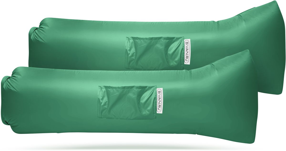 Диван надувной Биван 2.0, цвет: зеленый, 190 х 70 см, 2 штBVN17-COMPx2-GRNБиван 2.0 — надувной гамак (лежак, диван) второго поколения. Доработанная, более устойчивая и удобная форма. Добавлена мембрана, крепления для подсветки и колышков. Быстронадуваемый. Чтобы подготовить Биван к использованию, понадобится около 15 секунд. Какой насос? Кому теперь нужен насос?! Для любых поверхностей. Биван выполнен из прочного износостойкого текстиля со специальной пропиткой. Ему не страшны трава, камни, вода и песок. Лежите, где хотите. 12 часов релакса. Биван способен удерживать воздух более 12 часов, что позволит вам использовать его и для сна. Ремонтопригодность. Мы создали полноценный ремкомплект, так что если вдруг биван окажется поврежден, потребуется всего 15 минут, чтобы вернуть его в форму.Компактность и удобство.В сложенном виде габариты бивана — 35 ? 15 ? 11 см.Вес бивана с сумкой — 1500 грамм.Полная длина в развернутом виде — 200 см, ширина — 80 см.Полезная длина в надутом виде — 190 см, ширина — 70 см.