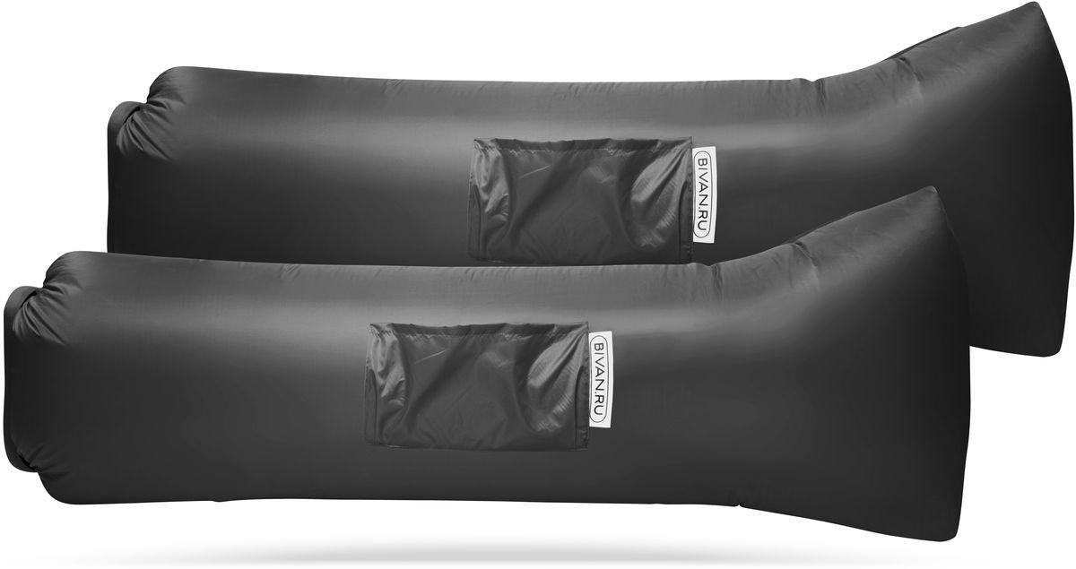 Диван надувной Биван 2.0, цвет: серый, 190 х 70 см, 2 штBVN17-COMPx2-GRYБиван 2.0 - это надувной гамак (лежак, диван) второго поколения. Доработанная, более устойчивая и удобная форма. Добавлена мембрана, крепления для подсветки и колышков.Быстронадуваемый. Чтобы подготовить Биван к использованию, понадобится около 15 секунд. Какой насос? Кому теперь нужен насос?! Для любых поверхностей. Биван выполнен из прочного износостойкого текстиля со специальной пропиткой. Ему не страшны трава, камни, вода и песок. Лежите, где хотите. 12 часов релакса. Биван способен удерживать воздух более 12 часов, что позволит вам использовать его и для сна. Ремонтопригодность. Мы создали полноценный ремкомплект, так что если вдруг биван окажется поврежден, потребуется всего 15 минут, чтобы вернуть его в форму.Компактность и удобство. В сложенном виде габариты бивана - 35 х 15 х 11 см.Вес бивана с сумкой - 1500 грамм. Полная длина в развернутом виде - 200 см, ширина - 80 см.Полезная длина в надутом виде - 190 см, ширина - 70 см.