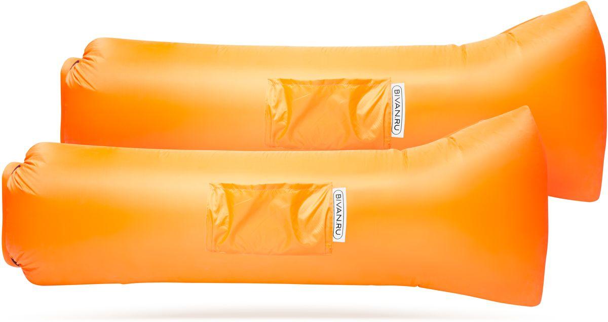 Диван надувной Биван 2.0, цвет: оранжевый, 190 х 70 см, 2 штBVN17-COMPx2-ORNБиван 2.0 - это надувной гамак (лежак, диван) второго поколения. Доработанная, более устойчивая и удобная форма. Добавлена мембрана, крепления для подсветки и колышков. Быстронадуваемый. Чтобы подготовить Биван к использованию, понадобится около 15 секунд. Какой насос? Кому теперь нужен насос?! Для любых поверхностей. Биван выполнен из прочного износостойкого текстиля со специальной пропиткой. Ему не страшны трава, камни, вода и песок. Лежите, где хотите. 12 часов релакса. Биван способен удерживать воздух более 12 часов, что позволит вам использовать его и для сна. Ремонтопригодность. Мы создали полноценный ремкомплект, так что если вдруг биван окажется поврежден, потребуется всего 15 минут, чтобы вернуть его в форму.Компактность и удобство.В сложенном виде габариты бивана - 35 х 15 х 11 см. Вес бивана с сумкой - 1500 грамм.Полная длина в развернутом виде - 200 см, ширина - 80 см. Полезная длина в надутом виде - 190 см, ширина - 70 см.