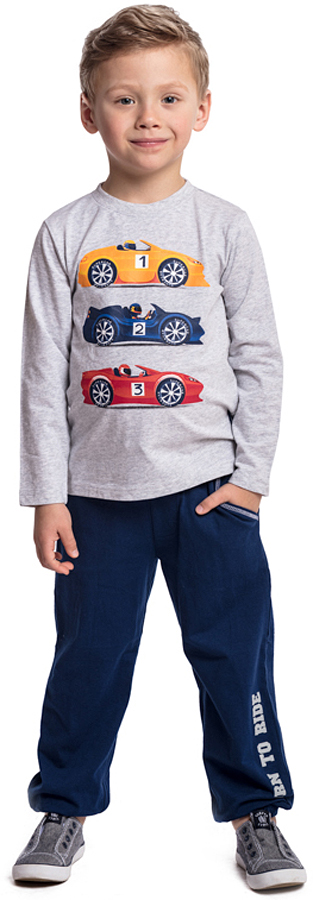 Комплект одежды для мальчика PlayToday: футболка с длинным рукавом, брюки, цвет: серый, синий. 371084. Размер 128371084Комплект PlayToday состоит из футболки с длинным рукавом и брюк. Пояс брюк на широкой резинке, дополнен регулируемым шнуром-кулиской. Футболка декорирована ярким принтом. Низ штанин на мягких резинках. Свободный крой не сковывает движений ребенка.