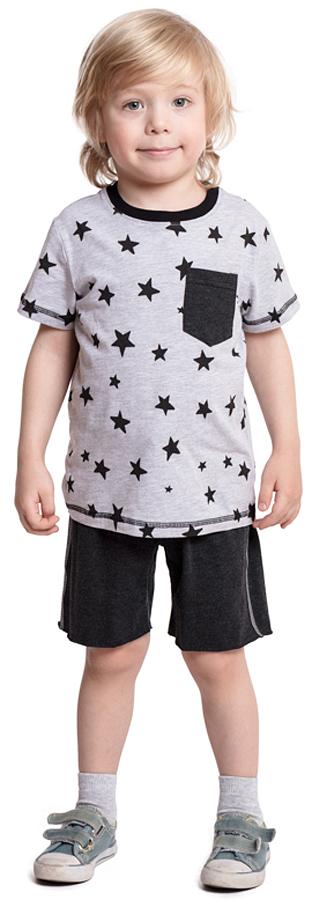 Комплект одежды для мальчика PlayToday: футболка, шорты, цвет: серый, черный. 371040. Размер 116371040Комплект PlayToday состоит из футболки и шорт. Натуральный, приятный к телу материал не сковывает движений. Пояс шорт на широкой мягкой резинке, дополнен регулируемым шнуром-кулиской. Футболка из принтованной ткани, дополнена небольшим карманом на полочке.