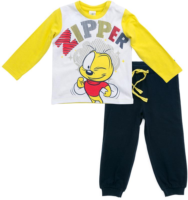 Комплект одежды для мальчика PlayToday: футболка с длинным рукавом, брюки, цвет: темно-синий, желтый, белый. 577052. Размер 74577052Комплект PlayToday, состоящий из футболки с длинным рукавом и брюк, может быть и домашней, и спортивной одеждой. Натуральный, приятный к телу материал не сковывает движений. Пояс брюк на широкой мягкой резинке, дополнен регулируемым шнуром-кулиской. Низ штанин на мягких манжетах. Футболка декорирована ярким принтом. По плечу футболки расположены удобные застежки-кнопки.