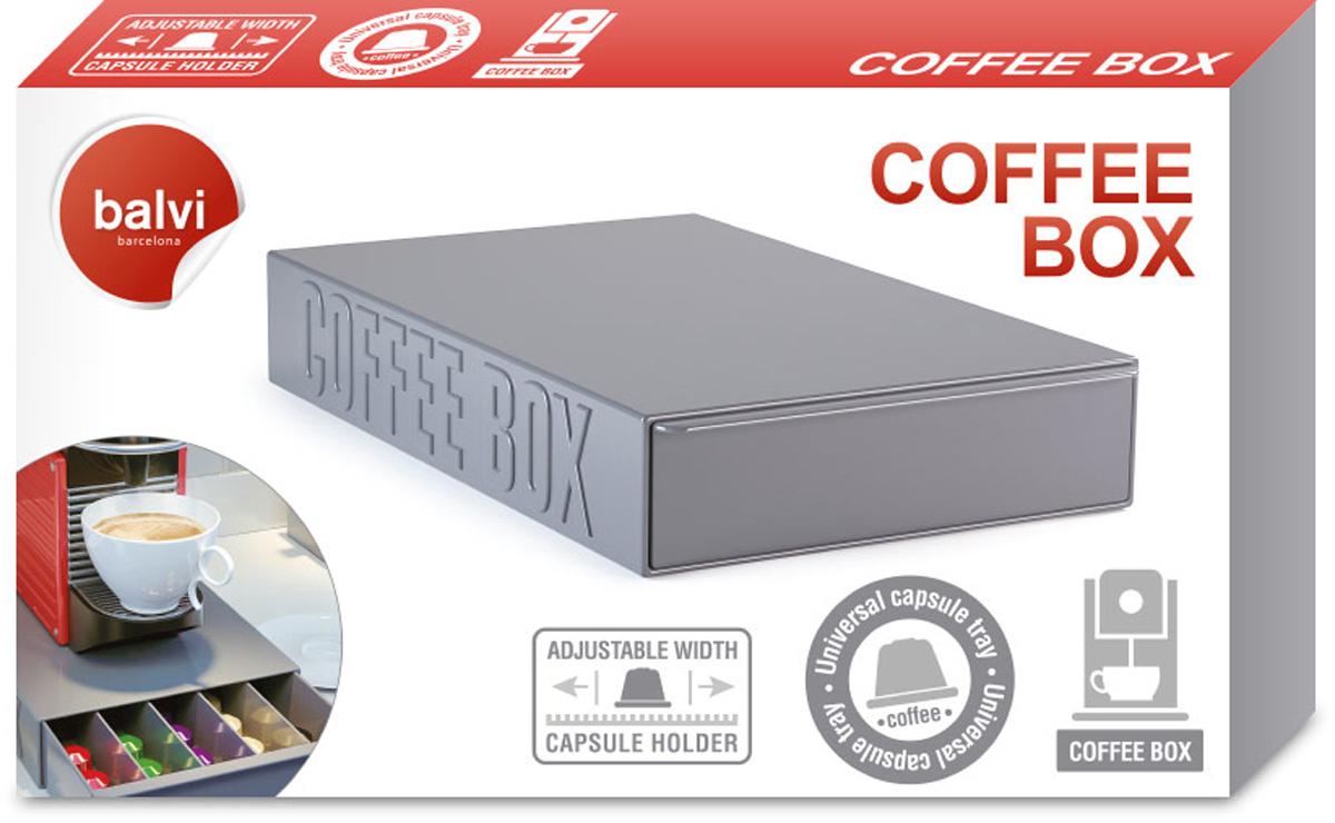 Подставка для кофейных капсул Balvi Coffee Box, цвет: серый, 33 х 22 х 5,5 см26250Подставка для кофейных капсул Coffee Box станет стильным и оригинальным аксессуаром для всех владельцев капсульных кофемашин. Пластиковый ящик графитового цвета хорошо впишется в интерьер любой кухни или столовой, и на него можно поставить саму кофемашину. В выдвижной секции можно поместить достаточное количество кофейных капсул, чтобы они всегда были под рукой. А регулируемые перегородки позволят изменять размеры отсеков под любые виды кофейных капсул.- Стильное и лаконичное оформление со своими изюминками.- Большая вместительность для различных капсул.- Удобное и безопасное хранение в соответствии с выдвигаемыми требованиями.