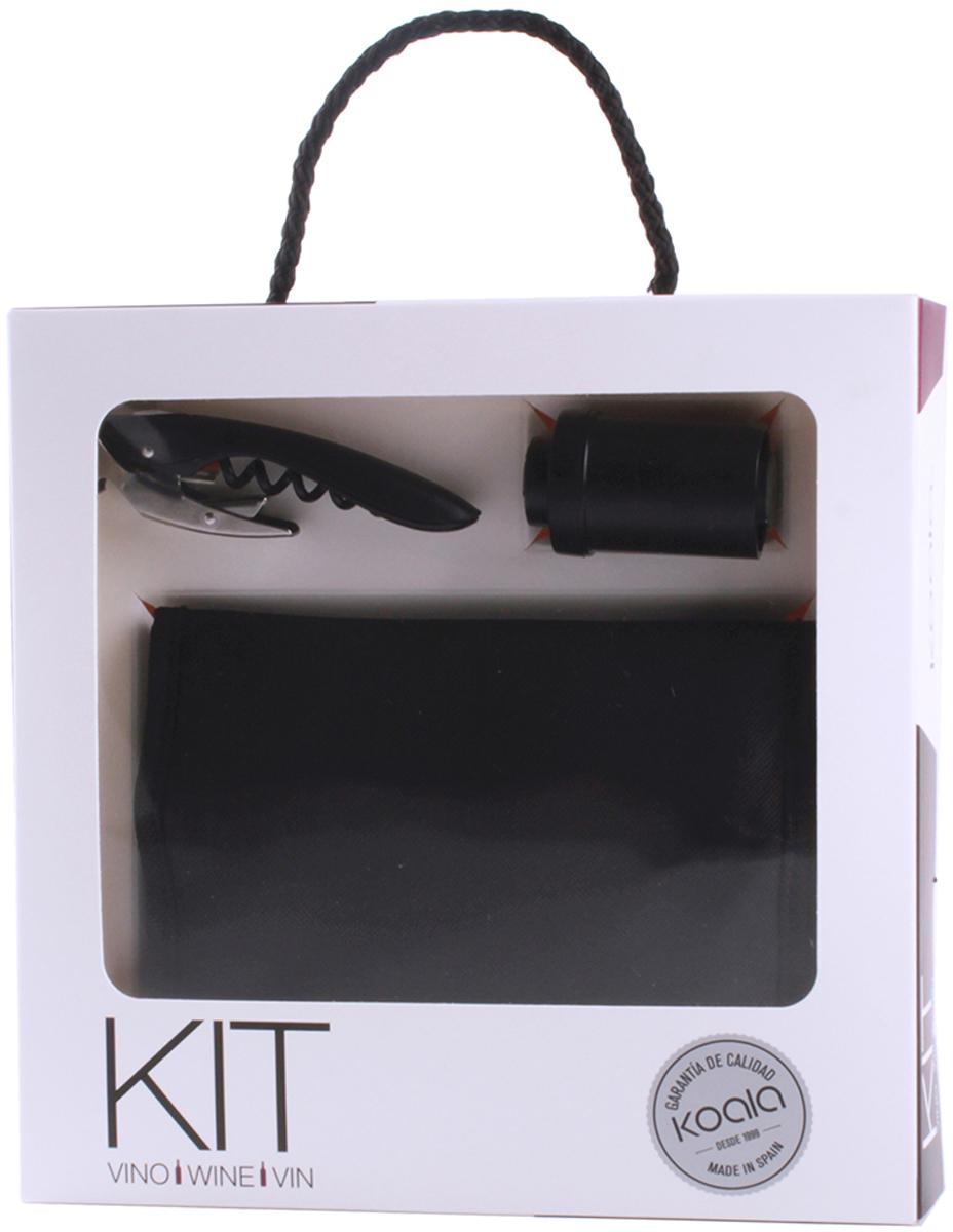 Набор для вина Koala High Tech, цвет: черный, 3 предмета6340NN01Набор для вина High Tech - технологичный сет для домашнего использования. Позволит охладить, открыть бутылку и надежно закупорить вакуумной пробкой.В набор входят: штопор High Tech, вакуумная пробка, охладительная рубашка. Штопор High Tech: - Выполняет функции ножа для фольги, штопора, открывалки для бутылок. - Запатентованная технология - храповый механизм двойного рычага с 7 позициями - обеспечивает комфортное и быстрое открывание. - Умная головка с пружинной опорой позволяет вынимать пробку двумя движениями. - Нож с микро-зубцами удобен и безопасен в эксплуатации. Вакуумная пробка: - Предотвращает попадание кислорода внутрь бутылки. - Благодаря эргономичной форме, легко извлекается. - Имеет лаконичный внешний вид. Охладительная рубашка Higt Tech: - Имеет внутренний съемный слой геля, позволяющий охладить вино за 60 минут. - Специальный ремень на дне, удерживающий бутылку от случайного выскальзывания. Набор выполнен в лаконичном стиле, упакован в презентабельную коробку.