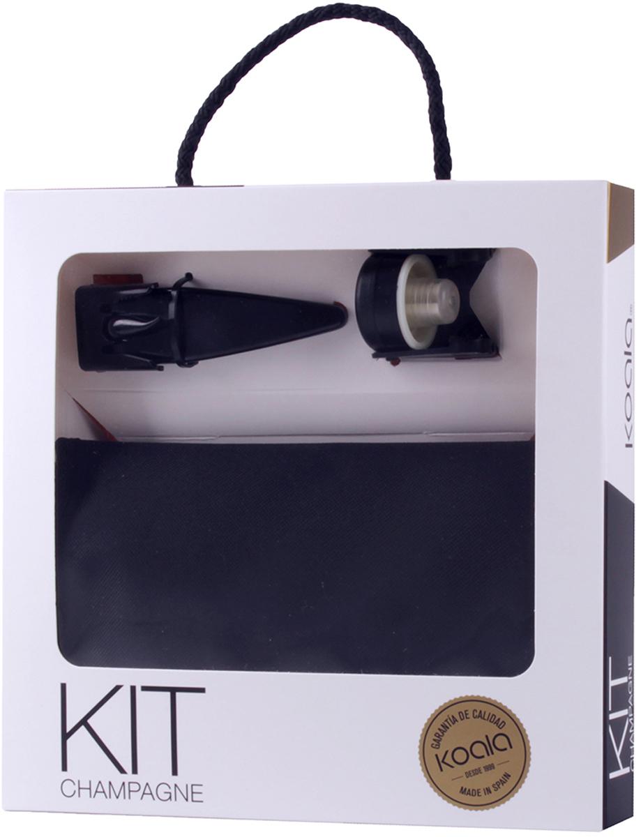 Набор для шампанского Koala, цвет: черный, 3 предмета6341NN01Набор для шампанского Koala от одноименного испанского бренда включает в себя все необходимые аксессуары для комфортного открывания и хранения игристых вин. В набор входят: открывалка для шампанского, охладительная рубашка, пробка для шампанского.Особенности набора: - Открывалка с мелкими удерживающими зубцами позволяет быстро и комфортно извлечь пробку, исключая ее случайный вылет под давлением. - Технология сцепки крючка с проволокой и U-образного держателя надежно фиксируют пробку в процессе откупоривания. - Открывалка изготовлена из сплава Zamak и качественной нержавеющей стали. - Охладительная рубашка со съемной гелевой прослойкой поможет охладить игристое вино за 60 минут. - Пробка для шампанского предотвратит случайное вытекание напитка, хорошо прилегает, за счет чего исключено выветривание шампанского.Произведено в Испании с применением собственных запатентованных технологий. Поставляется в подарочной упаковке.