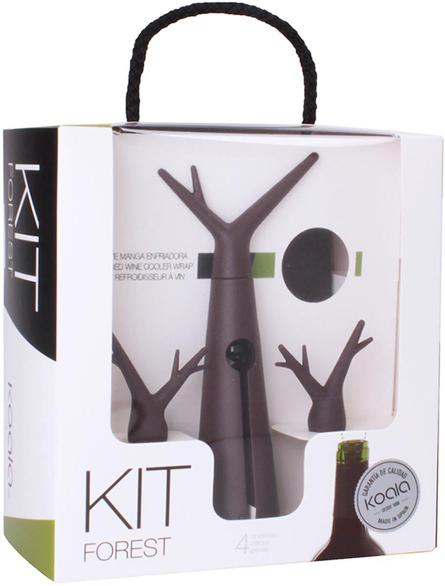 Набор для вина Koala Forest, цвет: коричневый, 3 предмета6346MM01Концептуальный набор для вина Forest от испанского бренда Koala в фирменном лесном стиле. Позволит быстро и легко охладить бутылку, открыть ее штопором и, при необходимости, закрыть пробкой. В набор входят: штопор, пробка-стоппер, охладительная рубашка. Особенности штопора: - Благодаря тефлоновому покрытию, спираль хорошо входит и извлекает пробку, предотвращая ее разлом. - Ручка и корпус - удобные, надежные. Пробка Forest: - Легко входит в горлышко, плотно фиксируется. - Предотвращает проливание вина (даже если бутылку перевернуть). - Есть оригинальный элемент в виде ручки.Охладительная рубашка Forest: - Съемный гелевый слой, позволяющий охладить бутылку за 60 минут. - Антискользящий ремень на дне также удерживает бутылку от выскальзывания. Информацию по рекомендуемым температурам охлаждения вин вы можете найти на упаковке товара. Произведен в Испании. Готовое оригинальное решение для домашнего использования, либо неординарный подарок - решать вам!