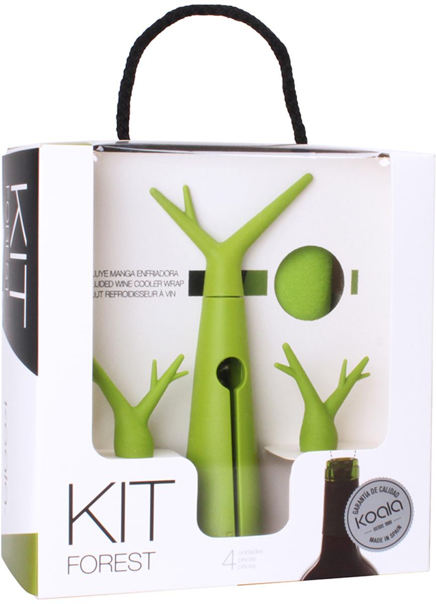 Набор для вина Koala Forest, цвет: зеленый, 3 предмета6346VL01Концептуальный набор для вина Forest от испанского бренда Koala в фирменном лесном стиле. Позволит быстро и легко охладить бутылку, открыть ее штопором и, при необходимости, закрыть пробкой. В набор входят: штопор, пробка-стоппер, охладительная рубашка. Особенности штопора: - Благодаря тефлоновому покрытию, спираль хорошо входит и извлекает пробку, предотвращая ее разлом. - Ручка и корпус - удобные, надежные. Пробка Forest: - Легко входит в горлышко, плотно фиксируется. - Предотвращает проливание вина (даже если бутылку перевернуть). - Есть оригинальный элемент в виде ручки.Охладительная рубашка Forest: - Съемный гелевый слой, позволяющий охладить бутылку за 60 минут. - Антискользящий ремень на дне также удерживает бутылку от выскальзывания. Информацию по рекомендуемым температурам охлаждения вин вы можете найти на упаковке товара. Произведен в Испании. Готовое оригинальное решение для домашнего использования, либо неординарный подарок - решать вам!