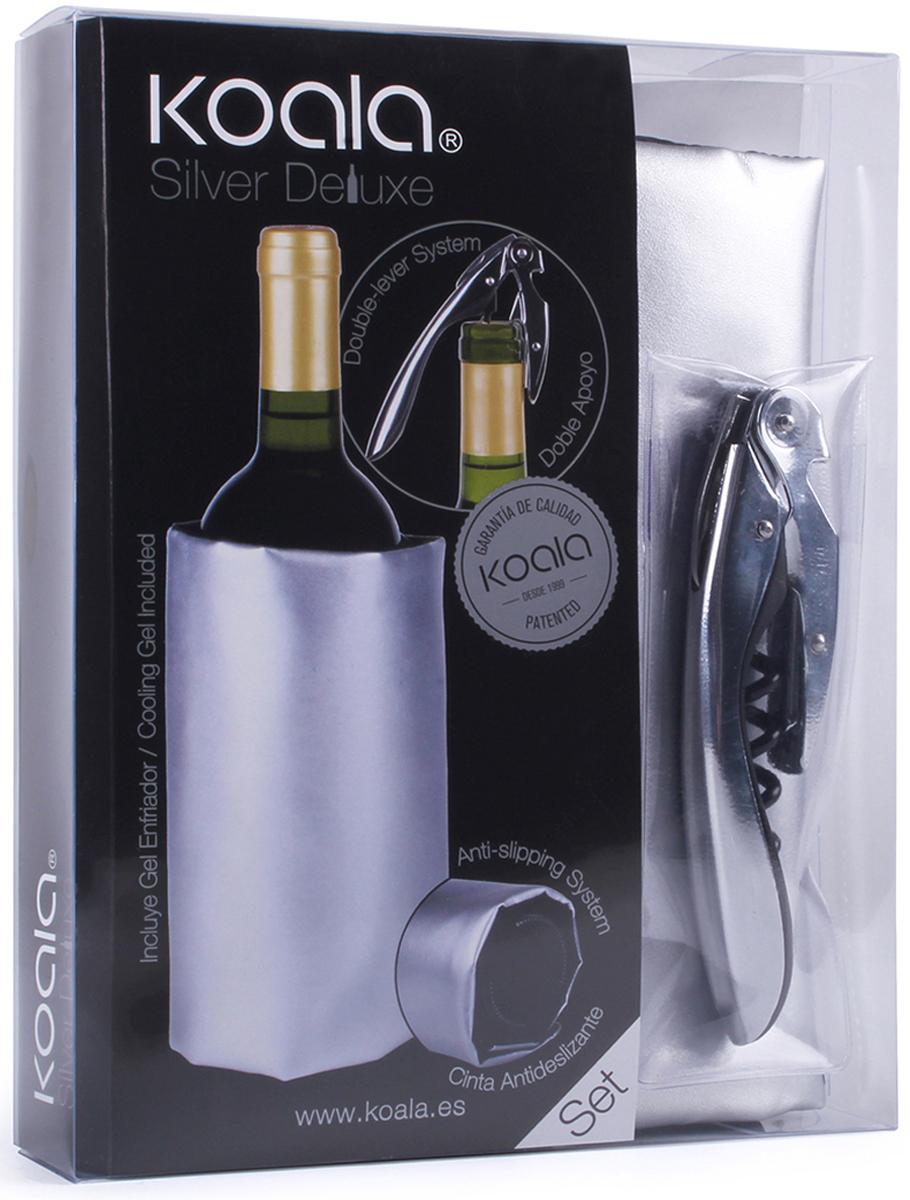 Набор для вина Koala Deluxe, цвет: серый металлик, 2 предмета6440SS01Фирменный набор для вина Deluxe - проверенный сет винных аксессуаров от испанского бренда Koala. Идеален для подарка, рекомендован для использования в домашних условиях. В набор входят: штопор High Tech Deluxe, охладительная рубашка. Особенности штопора High Tech Deluxe:- Выполняет функции ножа для фольги, штопора, открывалки для бутылок.- Запатентованная технология - храповый механизм двойного рычага с 7 позициями - обеспечивает комфортное, четкое и быстрое открывание.- Умная головка с пружинной опорой позволяет вынимать пробку двумя движениями.- Нож с микро-зубцами удобен в эксплуатации. Особенности охладительной рубашки:- Съемный гелевый слой внутри охладит бутылку за 60 минут.- Размер - оптимален для стандартных бутылок.- На дне есть противоскользящий ремень, удерживающий бутылку от выскальзывания.Информацию по рекомендуемым температурам охлаждения вин вы можете найти на упаковке товара.Произведен в Испании. Поставляется в подарочной упаковке.