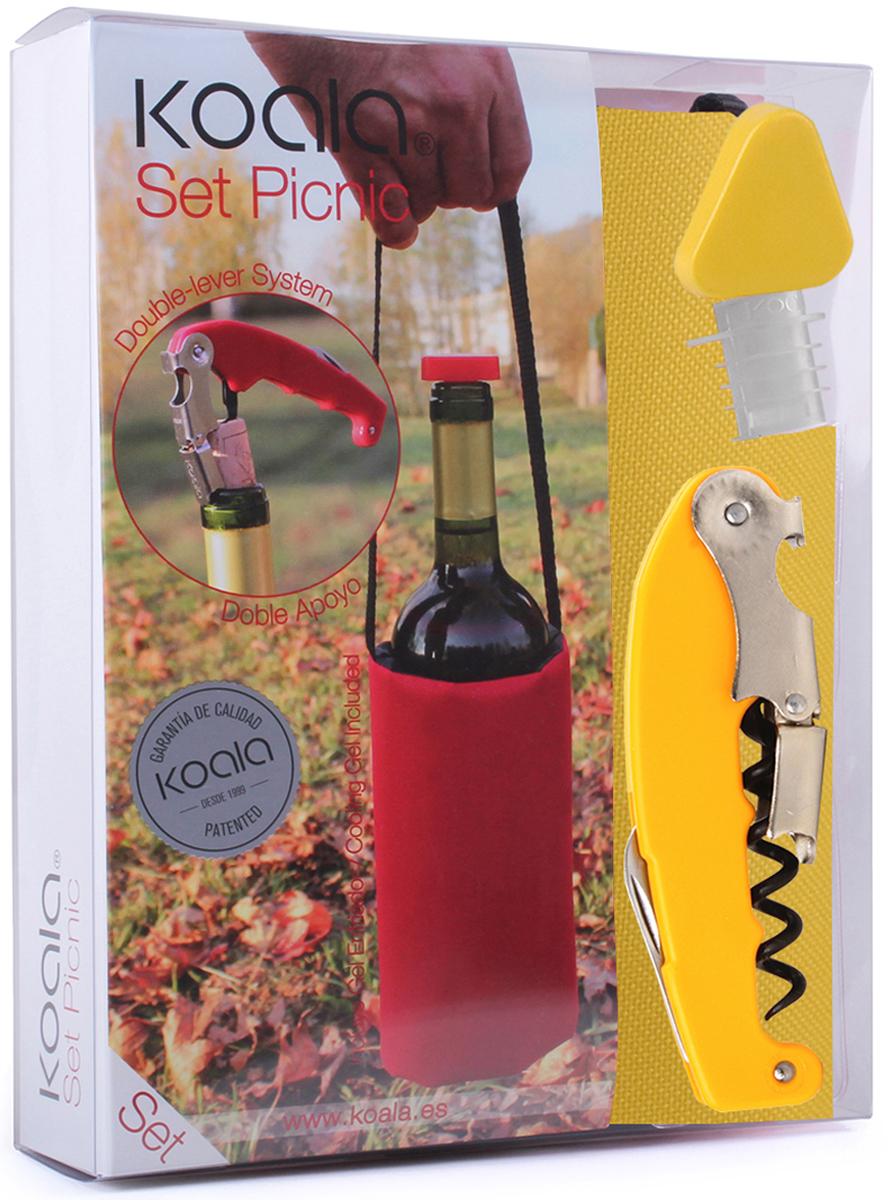 Набор для вина Koala Picnic, цвет: желтый, 3 предмета6442LL01Набор для вина Picnicот испанского бренда Koala - идеальный сет для использования на природе и в путешествиях.В набор входят: штопор Retro, пробка-каплеуловитель, сумка для охлаждения вина. Штопор Retro:- Позволяет комфортно срезать фольгу, открыть бутылку с вином.- Тефлоновая спираль легко входит в пробку, предотвращая ее разламывание.- Умная головка с 2-рычажной системой позволяет извлечь пробку двумя движениями.- Храповый механизм двойного рычага с 7 позициями способствует комфортному открыванию бутылки.- Эргономичная рукоятка.Пробка-каплеуловитель:- Каплеуловитель надежно фиксируется в горлышке.- Пробку легко вставлять и извлекать из бутылки.- Стильное дополнение - яркая треугольная крышка.Сумка для охлаждения вина:- Длинная ручка позволяет удобно переносить вино и брать с собой в дорогу.- Внутренний съемный гелевый слой для охлаждения бутылки за 60 минут. Информацию по рекомендуемым температурам охлаждения вин вы можете найти на упаковке товара.